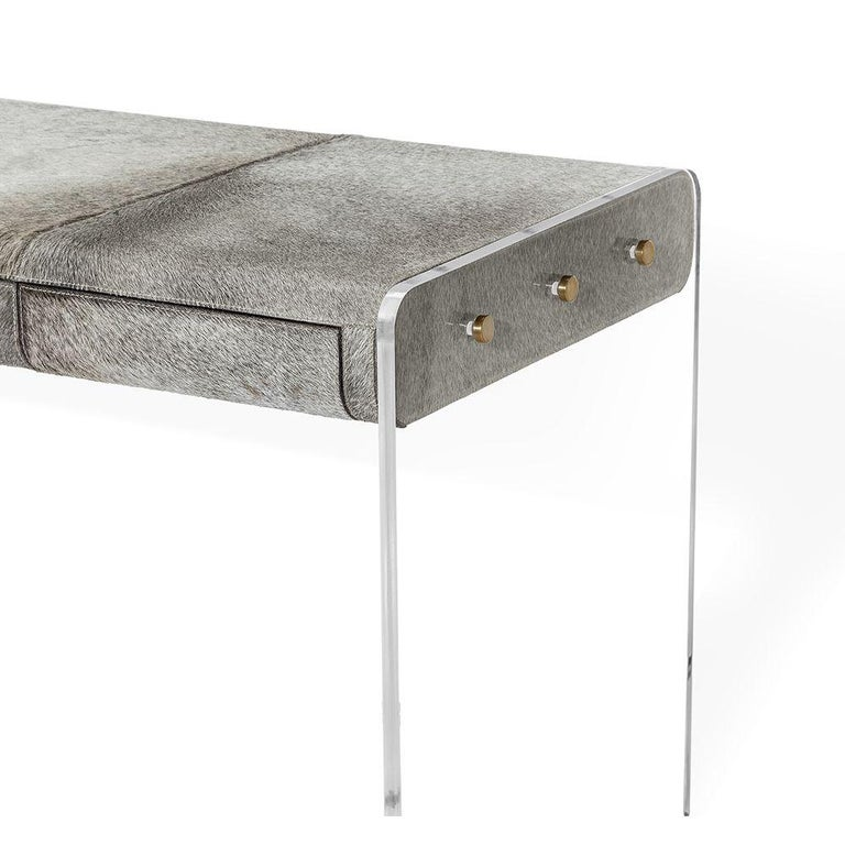 Modern Handcrafted Natural Grey Hide Desk in Acrylic Base For Sale
