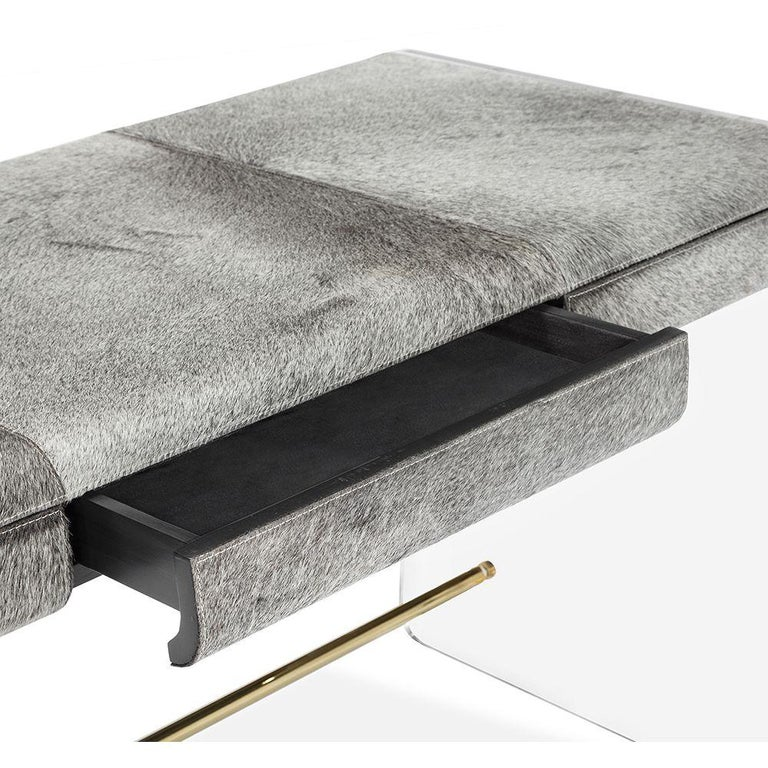 Asian Handcrafted Natural Grey Hide Desk in Acrylic Base For Sale