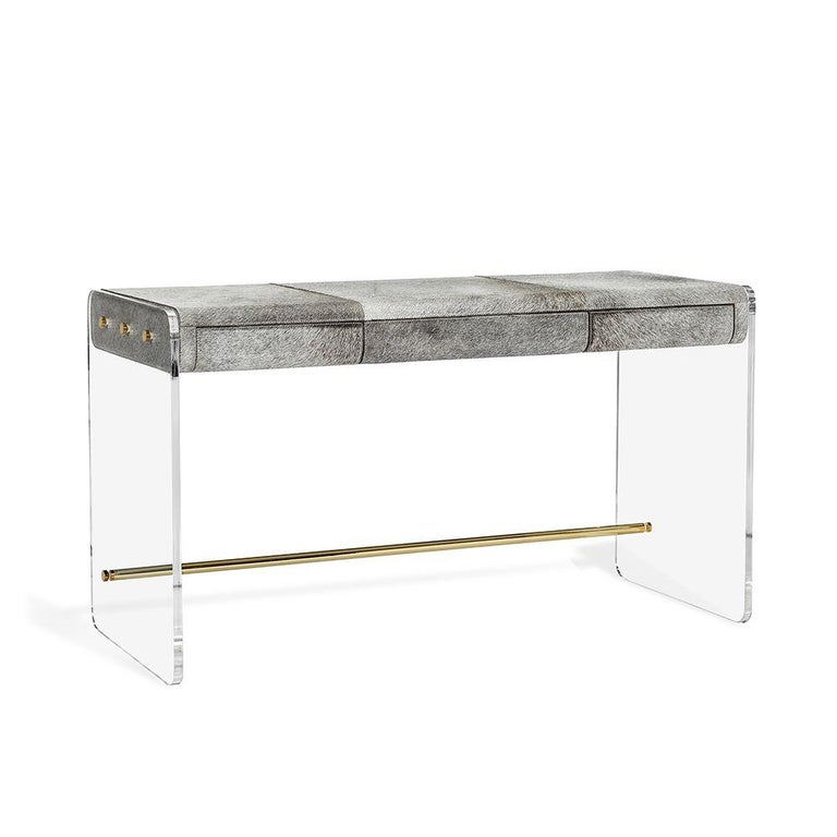 Handcrafted Natural Grey Hide Desk in Acrylic Base In New Condition For Sale In New York, NY
