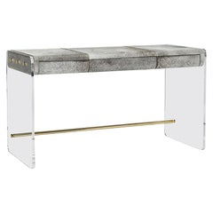 Handcrafted Natural Grey Hide Desk in Acrylic Base