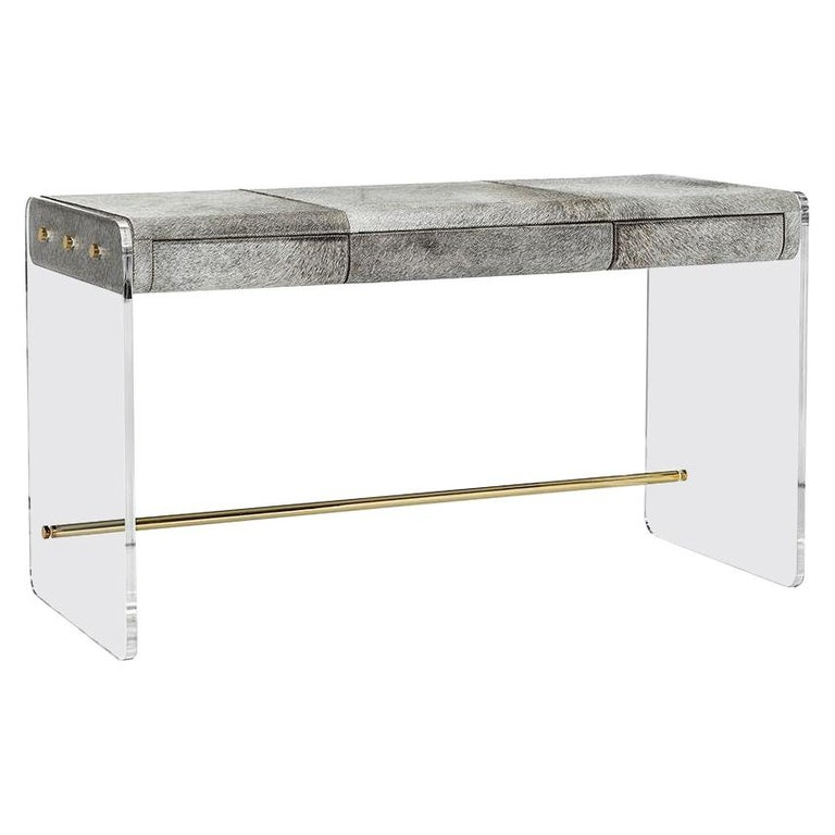 Handcrafted Natural Grey Hide Desk in Acrylic Base For Sale