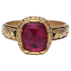 Handcrafted Natural Ruby Ring with Intricate Gold Detailing