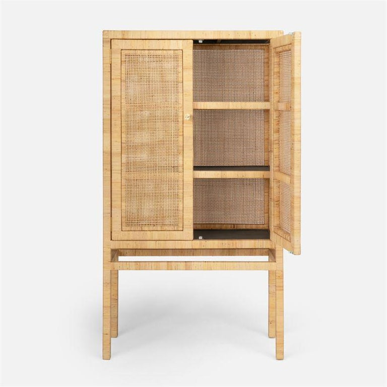 Modern Handcrafted Natural Woven Rattan Cabinet For Sale