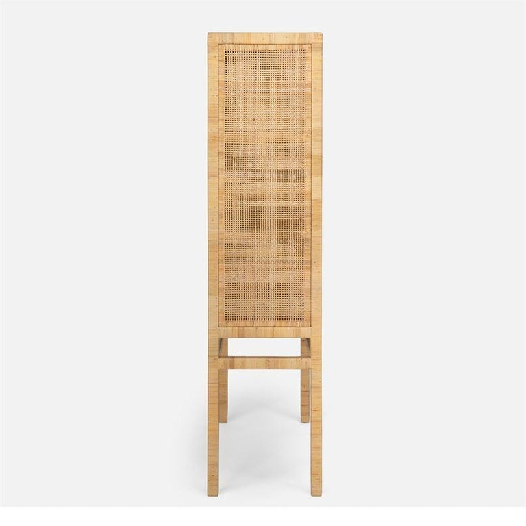 Asian Handcrafted Natural Woven Rattan Cabinet For Sale