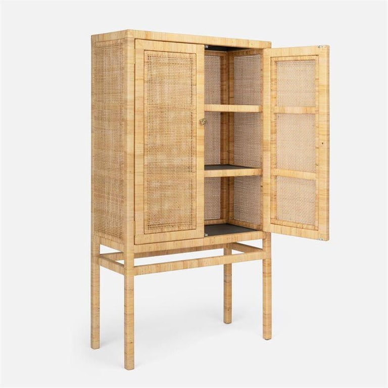 Handcrafted Natural Woven Rattan Cabinet In New Condition For Sale In New York, NY