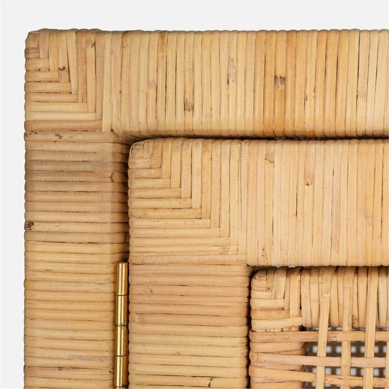 Contemporary Handcrafted Natural Woven Rattan Cabinet For Sale