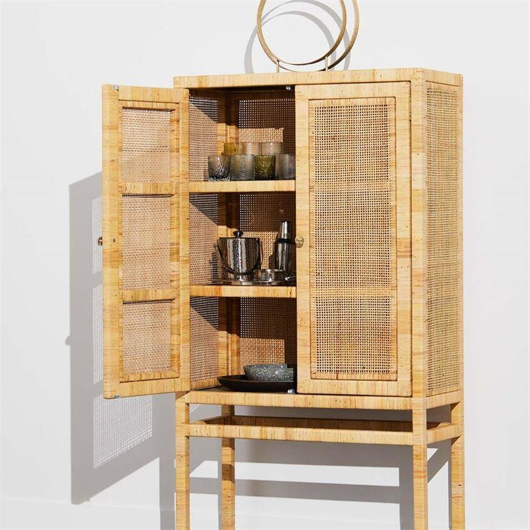 Handcrafted Natural Woven Rattan Cabinet For Sale 1