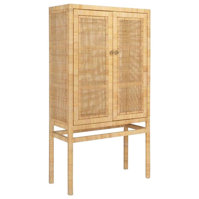 Handcrafted Natural Woven Rattan Cabinet For Sale