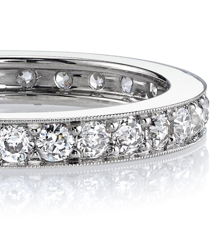 Contemporary Handcrafted Old European Cut Diamond Platinum Eternity Band For Sale