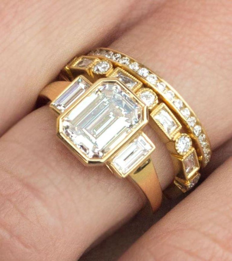 Handcrafted Old European Cut Diamond Platinum Eternity Band In New Condition For Sale In Los Angeles, CA