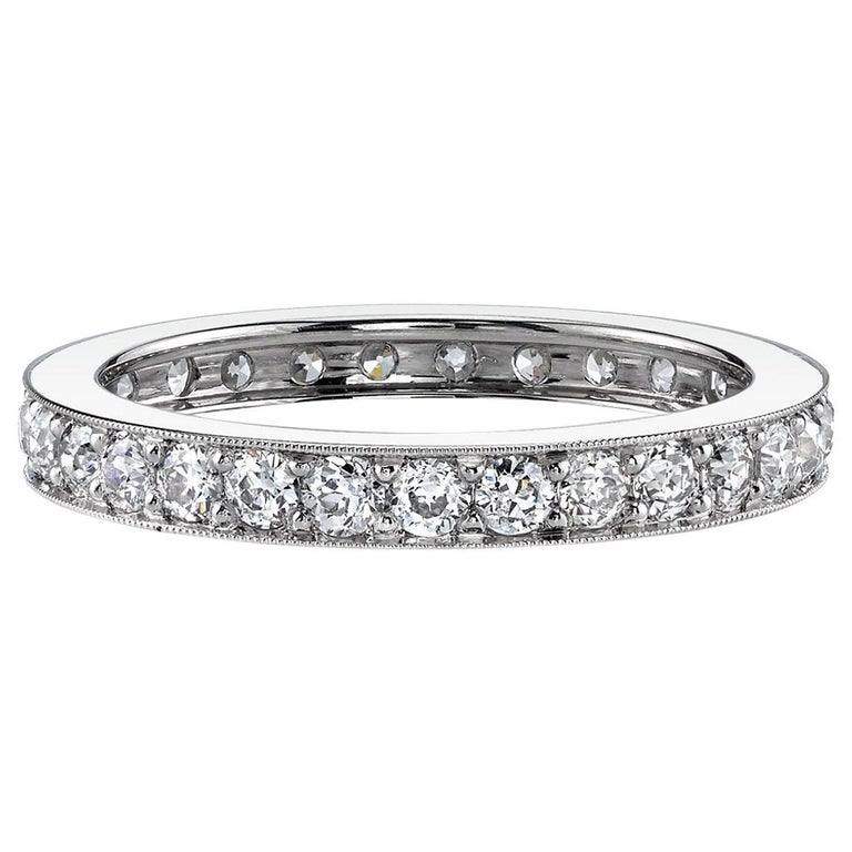 Handcrafted Old European Cut Diamond Platinum Eternity Band For Sale