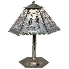 Handcrafted One of a Kind French Art Deco Nickel, Opaline Glass Table Lamp