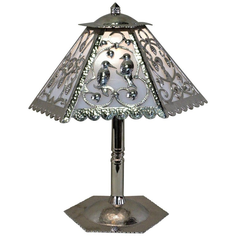 Handcrafted One of a Kind French Art Deco Nickel, Opaline Glass Table Lamp For Sale