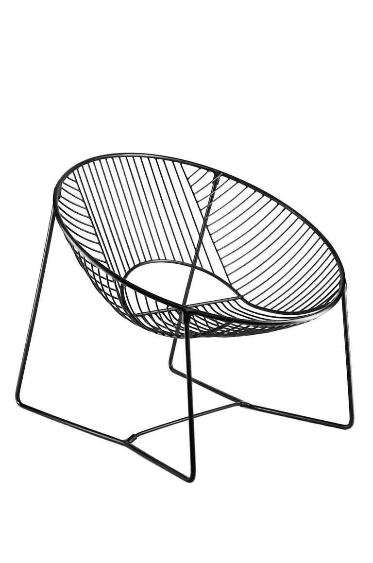 Handcrafted Outdoor Cali Wire Lounge Chair, Powder-Coated Steel For Sale 6