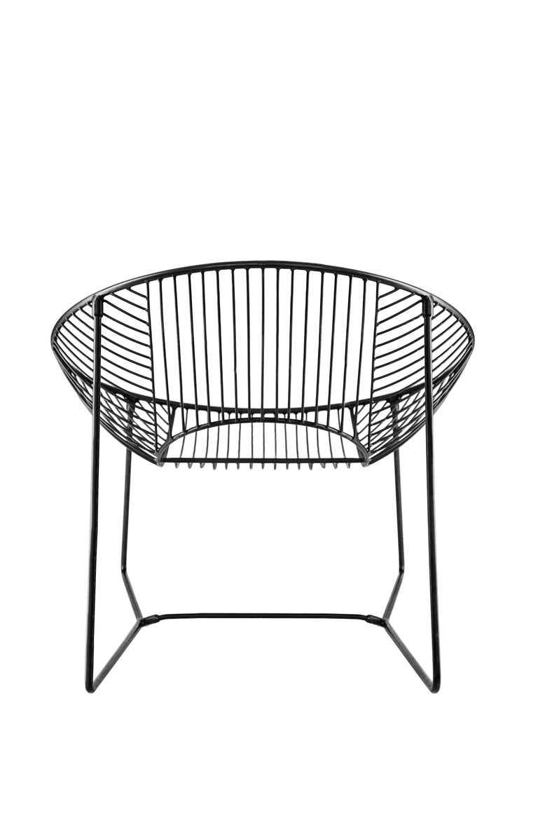 Handcrafted Outdoor Cali Wire Lounge Chair, Powder-Coated Steel For Sale 7