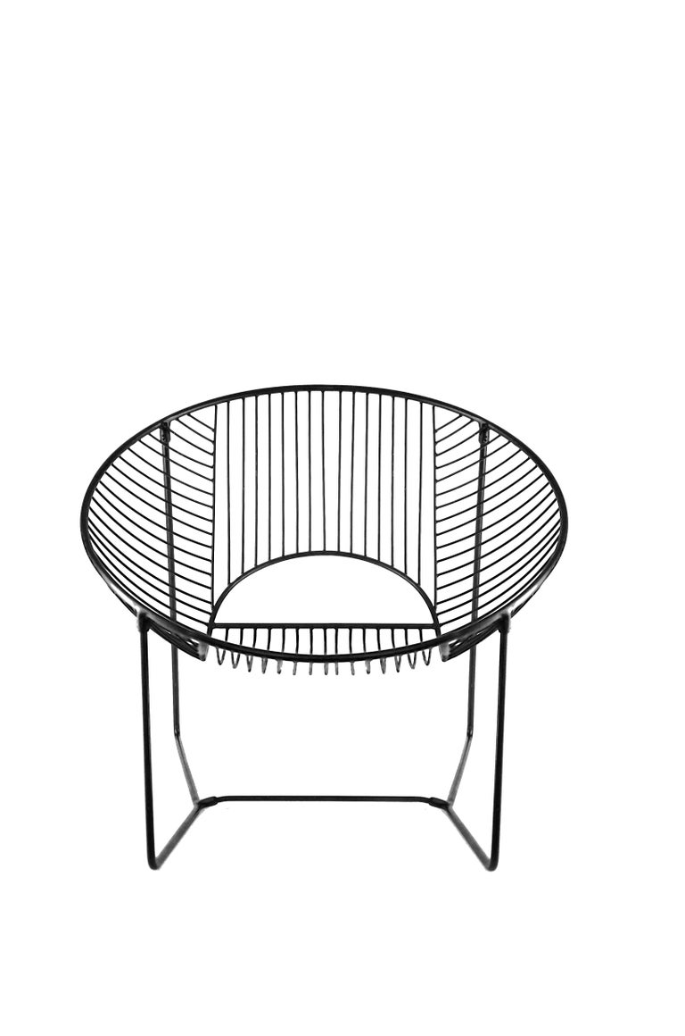 Handcrafted Outdoor Cali Wire Lounge Chair, Powder-Coated Steel For Sale 8