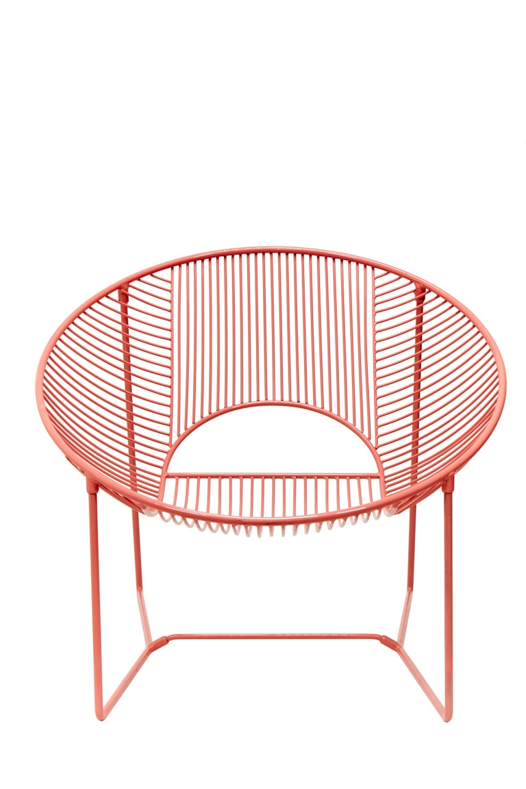 Mexican Handcrafted Outdoor Cali Wire Lounge Chair, Powder-Coated Steel For Sale