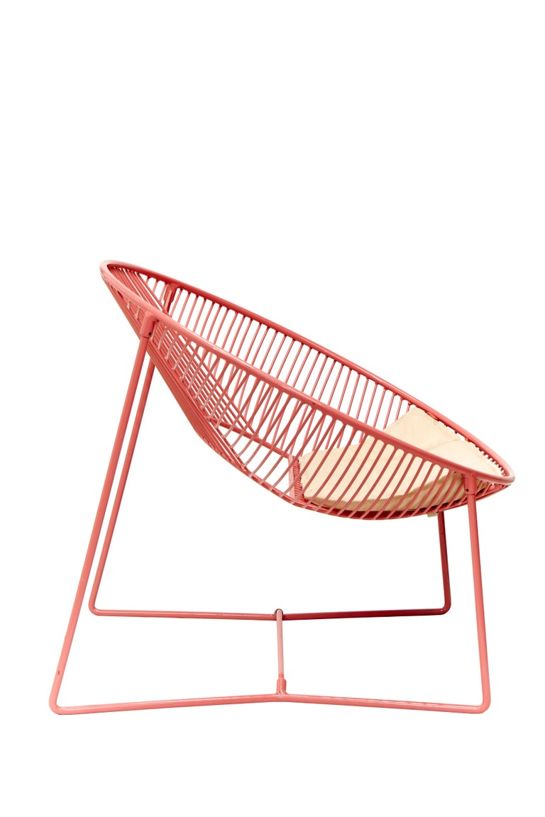 Polished Handcrafted Outdoor Cali Wire Lounge Chair, Powder-Coated Steel For Sale