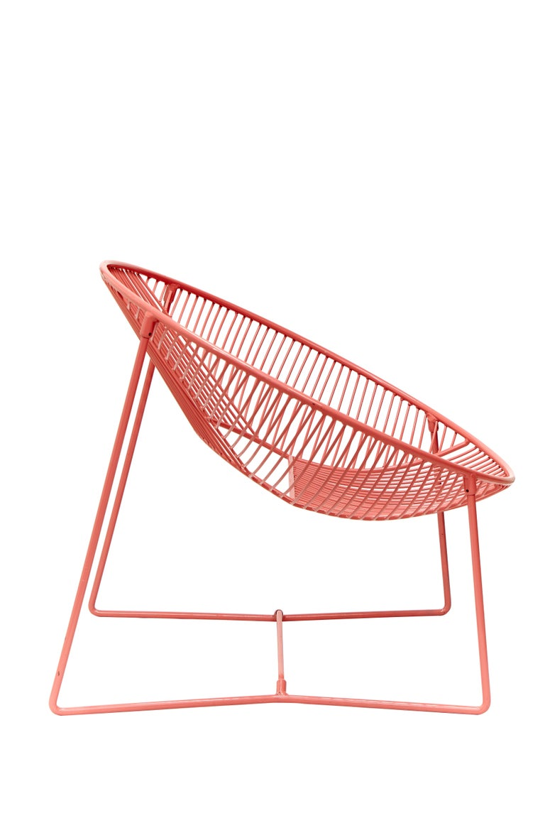 Handcrafted Outdoor Cali Wire Lounge Chair, Powder-Coated Steel In New Condition For Sale In Mexico City, Delegación Cuauhtémoc