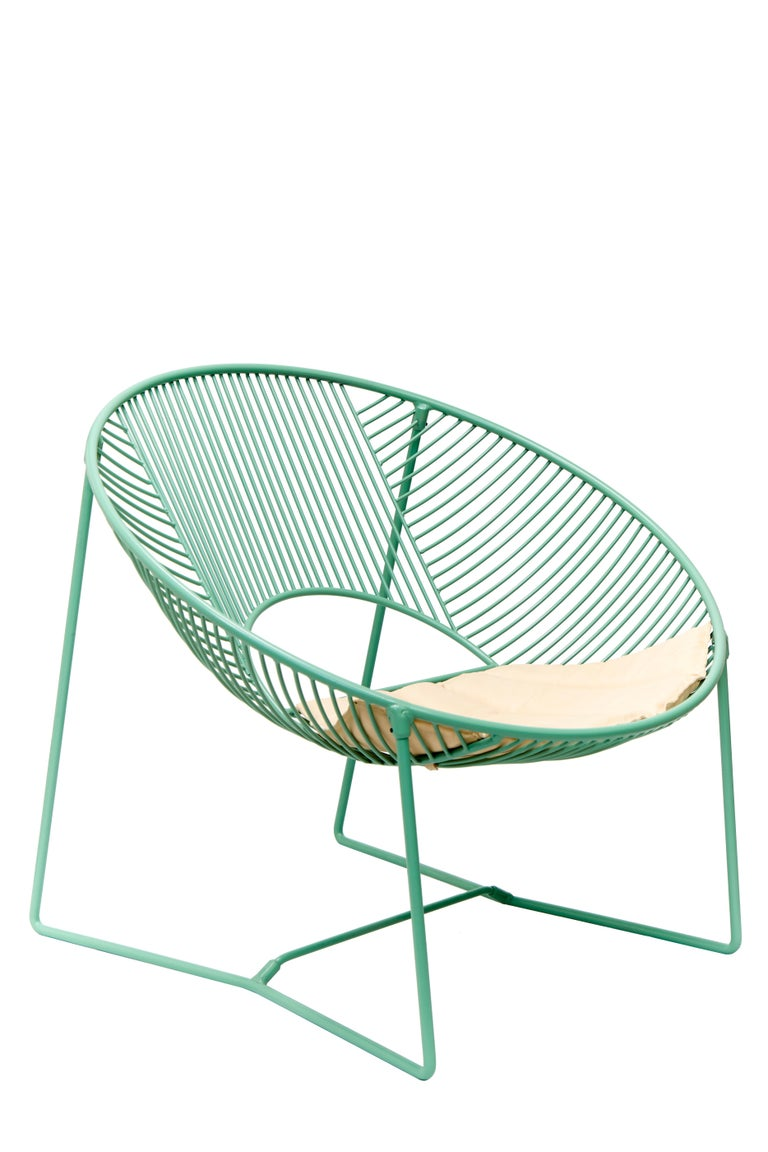 Contemporary Handcrafted Outdoor Cali Wire Lounge Chair, Powder-Coated Steel For Sale