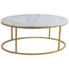 Outdoor Italian Statuario Marble Topped Coffee Table with Gold Metal Base