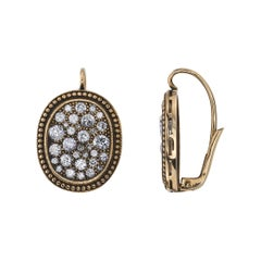 Handcrafted Oxidized 18k Yellow Gold Cobblestone Diamond Drop Earrings