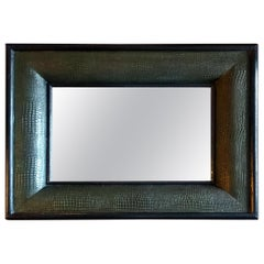 Handcrafted Painted Embossed Crocodile Wood Mirror offered by La Porte