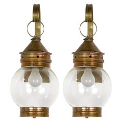 Handcrafted Pair of Copper and Glass Ball Lantern Sconces