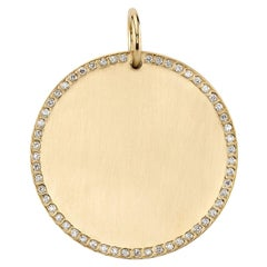 Handcrafted Pave Frame Disc Pendant by Single Stone