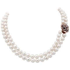 Handcrafted Pearl, Colored Stones, 9 Karat Rose Gold and Silver Necklace