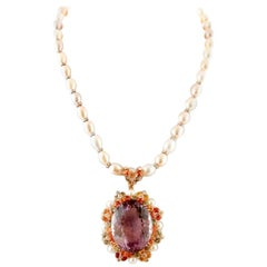 Handcrafted Pearl Necklace with Amethyst Pendant, Diamonds and Colored Sapphires
