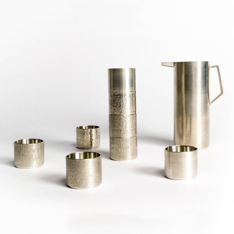 Hand-Crafted Handcrafted Pewter Sake Set For Sale