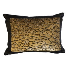 Handcrafted Pillow Gold Metallic Sequins on Black Satin