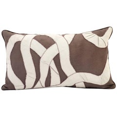 Handcrafted Pillow Hand Appliqué Faux Ribbon Design with Beading in Matt Beads