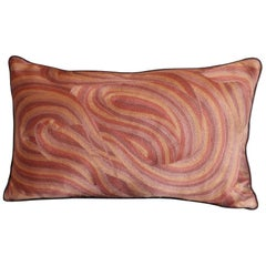 Handcrafted Pillow Hand Embroidered in Ombré All-Over Thread Work