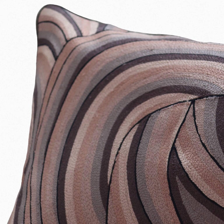 Modern Handcrafted Pillow Hand Embroidered in Ombré All-Over Thread Work Taupes For Sale