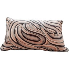 Handcrafted Pillow Hand Embroidered in Ombré All-Over Thread Work Taupes