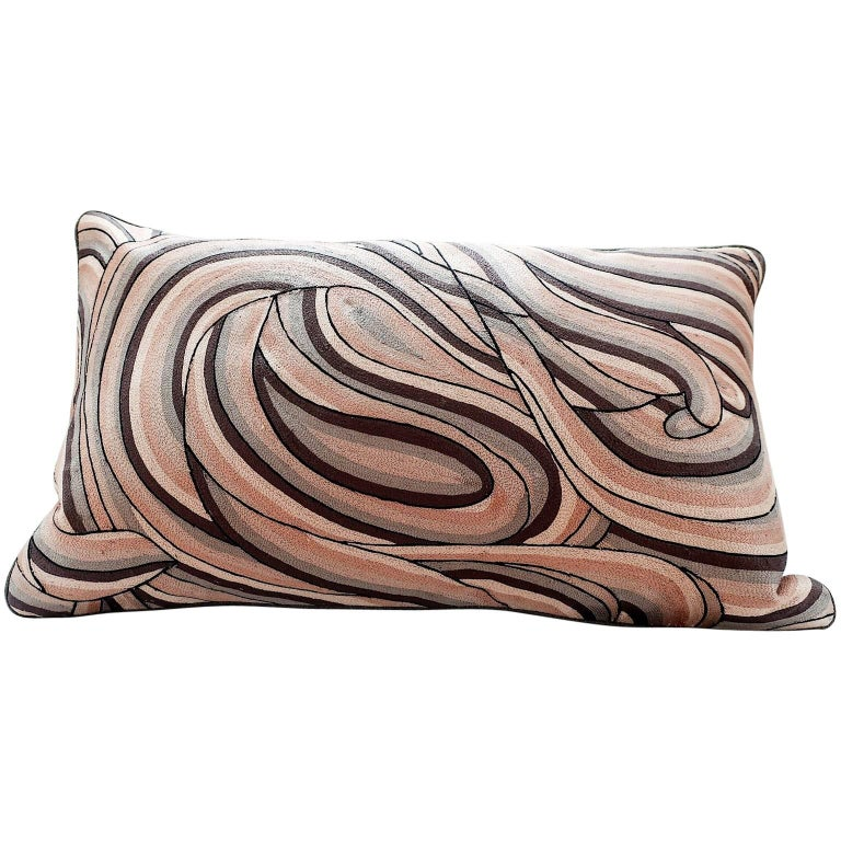 Handcrafted Pillow Hand Embroidered in Ombré All-Over Thread Work Taupes For Sale