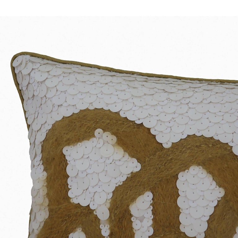 Handcrafted rectangle cushion fully hand embroidered with mohair yarn and matte white sequins. Feather pad.