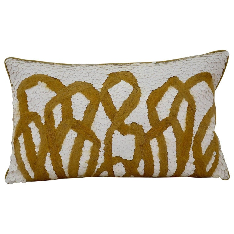 Handcrafted Pillow Mohair Yarn and Opaque White Sequins For Sale
