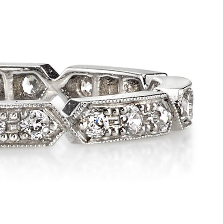 Approximately 0.30tw old European cut diamonds set in a hand crafted Platinum eternity band.  All of our jewelry is individually made to order in Los Angeles, please allow 6-8 weeks for delivery.   Please list the requested size upon checkout. In