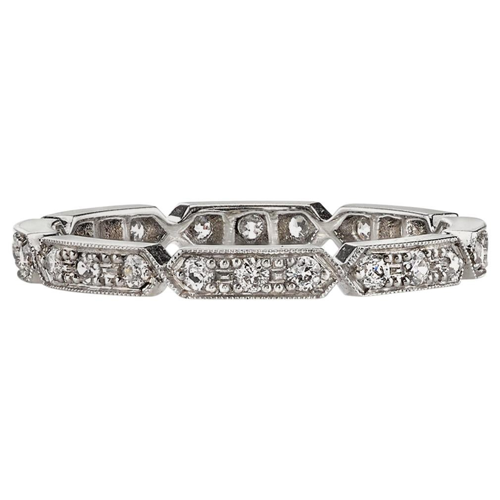 0.30 Carat Old European Cut Diamonds Set in a Handcrafted Platinum Eternity Band