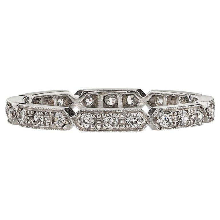 0.30 Carat Old European Cut Diamonds Set in a Handcrafted Platinum Eternity Band For Sale