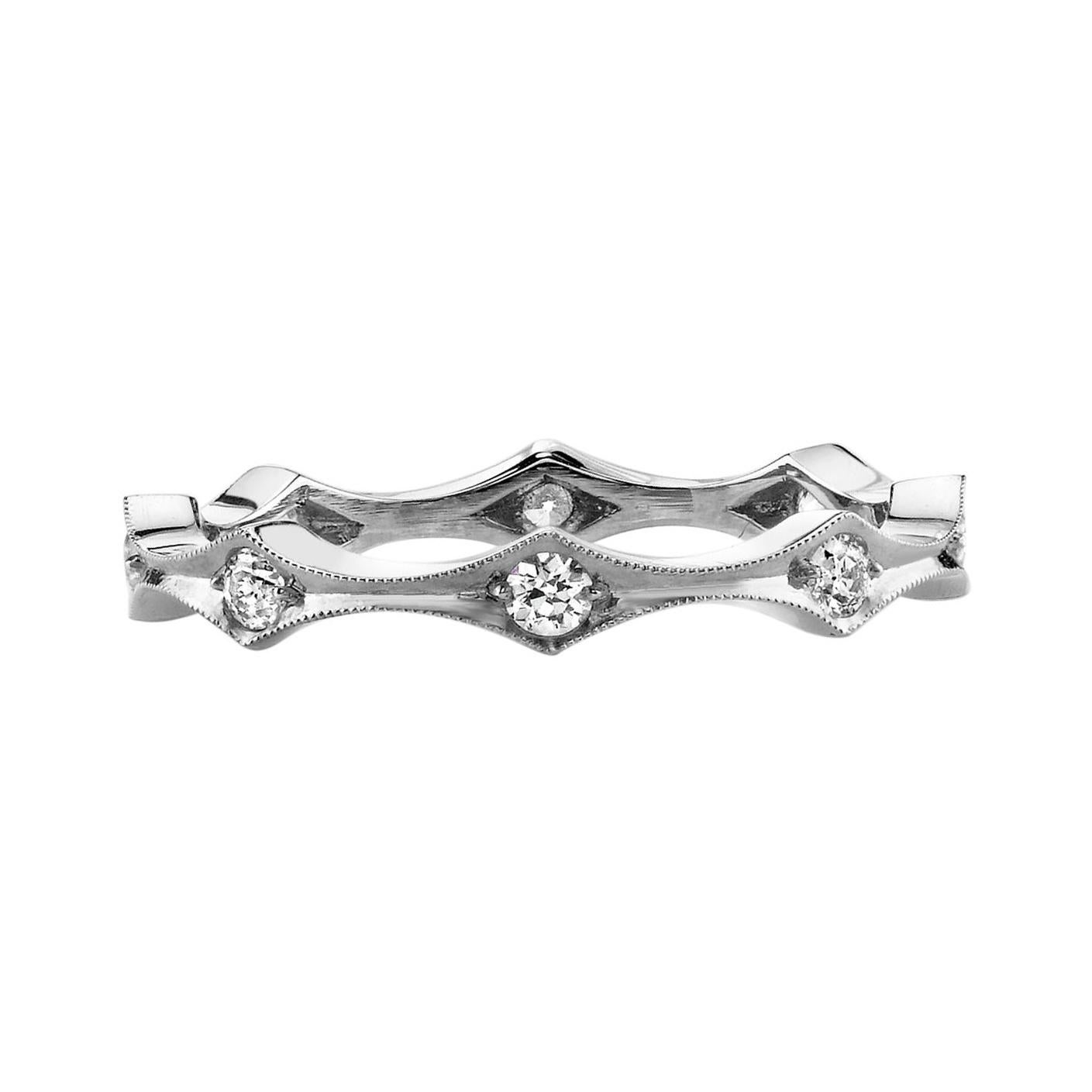 Handcrafted Old European Cut Diamond Band in Platinum