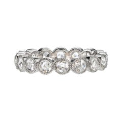Handcrafted Platinum Rose Cut Diamond Eternity Band