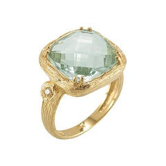 Handcrafted Polish-Finished Textured Cocktail Green Amethyst Ring