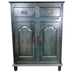Handcrafted Quebec Painted Pine Cupboard, circa 1800-1810