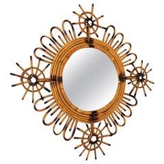 Spanish Modern Rattan Sunburst Mirror