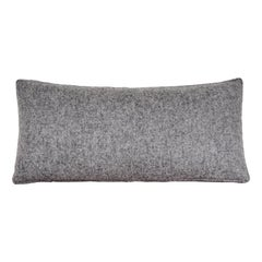 Handcrafted Rectangle Grey Wool Lumbar Pillow Cushion