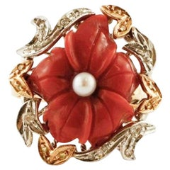 Handcrafted Retro Ring Coral Flower, Diamonds, Pearl, Rose and White Gold